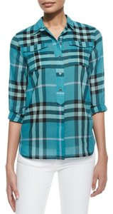 Burberry Pleated Back Shirttail Hem Button Down Shirt green teal