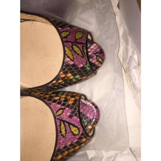 Christian Louboutin Rare Exotic Hand Painted Ultra High Neutral Celebrity Snakeskin Python Bright Nude Platforms