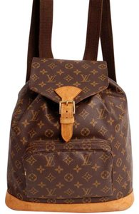 Louis Vuitton Monogram Canvas Montsouris Leather Luggage Front Flap Gold Hardware Made In France Classic Backpack