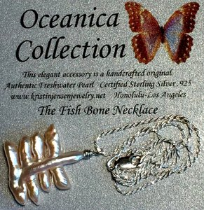Oceanica Fishbone Pearl Pendant Necklace