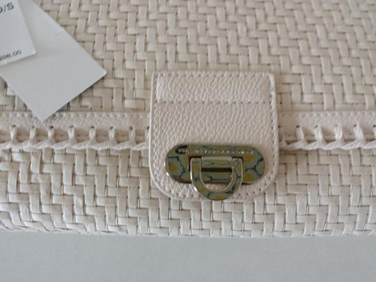 French Connection Straw Logo Lightweight Sweet Ivory Clutch