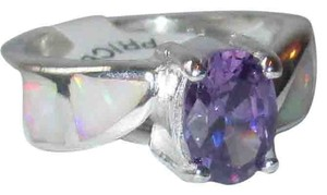 J Brand Genuine 925 Sterling Silver 7mm Oval Amethyst with White Opal in Band Size 6 or 10