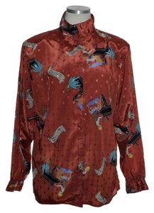Diane von Furstenberg Vintage Asian Print Dolman Button Down Shirt Red Orange
