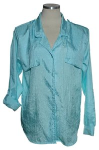 Diane von Furstenberg Vintage Crinkle Button Down Shirt Light Blue