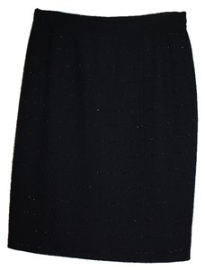 Chanel Vintage Classic Exclusive Skirt Black Boucle' with Black Metallic Stripes