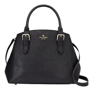 Kate Spade Leather Gold Hardware Work Business Smart Satchel in Black