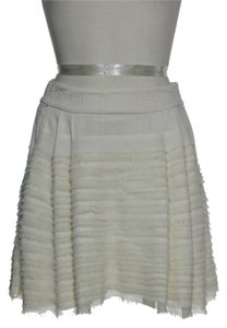 Diane von Furstenberg 100% Silk Ruffle Mini Skirt Cream