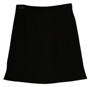 Chanel Vintage Classic Exclusive Skirt Black Woven Wool Crepe