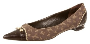 Louis Vuitton Lv Monogram Logo Pointed Toe Gold Hardware Brown Flats