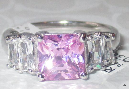 J Brand 925 Sterling Silver 76mm Princess Cut Pink Topaz with White Topaz Accents Size 5 6 7 8 9 10
