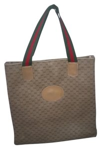 Gucci Vintage Tote in Brown red green webbing strap