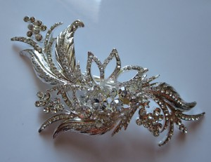 Rhinestone Leaf Bridal Hair Clip