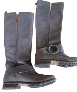Olukai Leather Biker Riding Brown Boots