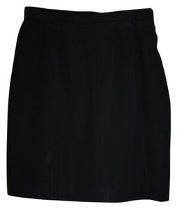 Chanel Vintage Classic Exclusive Skirt Black Wool Gaberdine