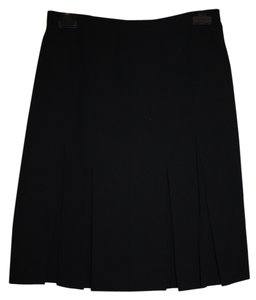 Chanel Vintage Classic Exclusive Skirt Black Wool Crepe
