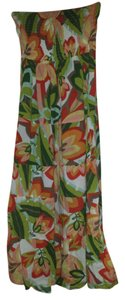 Orange, coral, green Maxi Dress by Strapless Tropical Floral