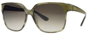 Salvatore Ferragamo Salvatore Ferragamo Striped Khaki Square Wayfarer Sunglasses