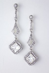 Silver/Silver Crystal Drop Earrings