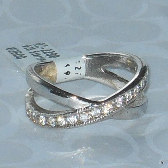 J Brand Genuine 925 Sterling Silver Clear CZ Simulated Diamond Crossover Design Sizes 5 6 7 8 9 10