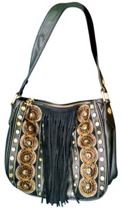 Christian Audigier Leather Beaded Studded Shoulder Bag