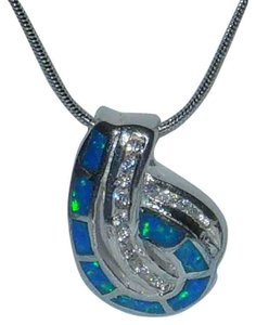 J Brand Genuine Sterling Silver Blue Opal Clear CZ Pendant Necklace 18