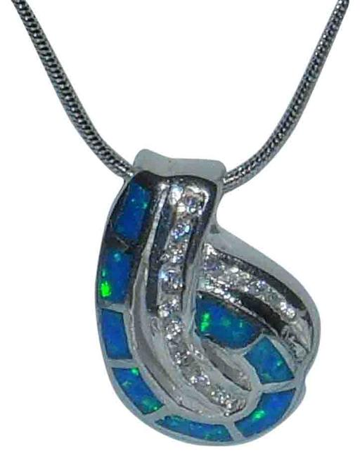 """Item - Blue Genuine Sterling Silver Opal Cz Pendant 18"""" Sterling Silver Snake Chain Necklace"""