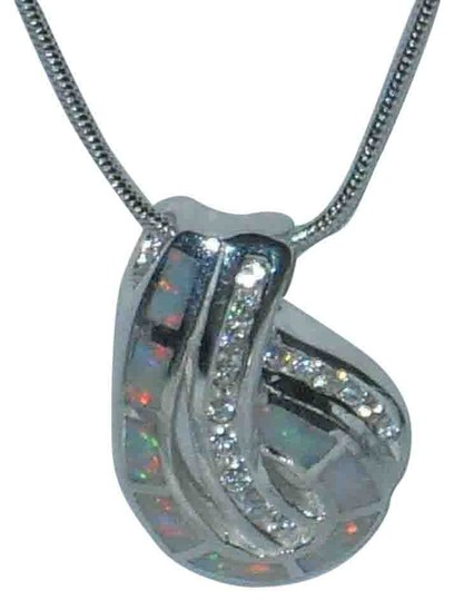 "J Brand Genuine Sterling Silver White Opal Clear CZ Pendant Necklace 18"" Sterling Silver Snake Chain"