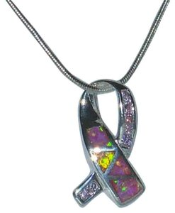 "J Brand Genuine Sterling Silver Pink Opal Ribbon Cancer Symbol 18"" Sterling Silver Snake Chain"