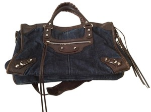 Balenciaga Satchel in Denim/Chocolate Leather Trim
