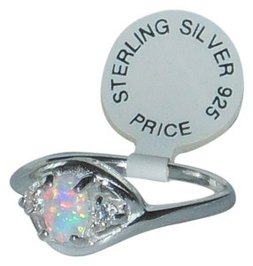 Other Silver Oval Cut White Opal Ring