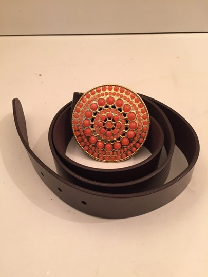 Other Brown leather belt with gold/pink beaded buckle