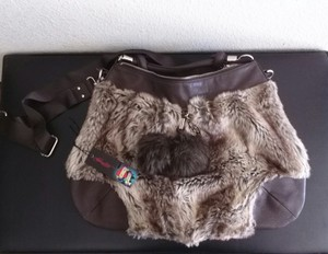 Ed Hardy Faux Fur Crossbody Pompom Hobo Bag
