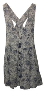 Forever 21 short dress white w. blue floral pattern on Tradesy