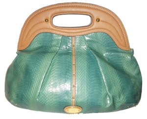 Nine West green & tan Clutch