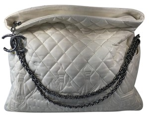 Chanel Russia Quilted Leather White Messenger Bag