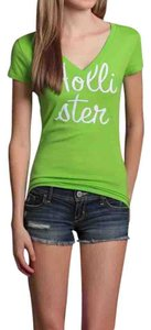 Hollister Applique V-neck T Shirt Green