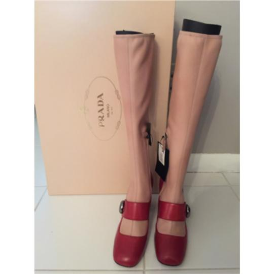 Prada red and nude Boots