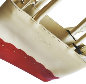 Furla Designer Cute Fashion Wrist Saks Beverlyhills Clean Tags Wristlet in Cream and red