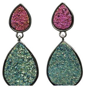 Brand New Druzy Style Look Colorful Dangle Earrings