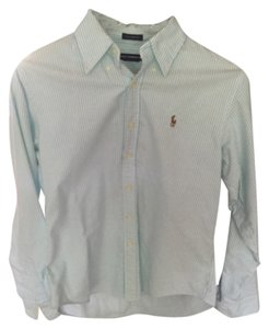 Ralph Lauren Button Down Shirt Turquoise Blue/White Stripe