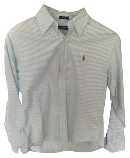 Preload https://item2.tradesy.com/images/ralph-lauren-turquoise-bluewhite-stripe-button-down-top-size-10-m-4623226-0-0.jpg?width=400&height=650
