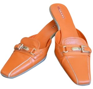 Prada Kitten Heel Leather Orange Mules