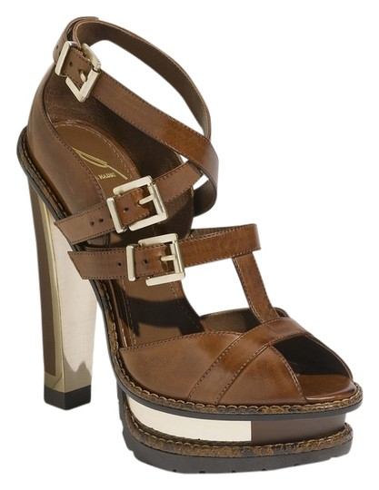 B Brian Atwood Brown Leather Platforms