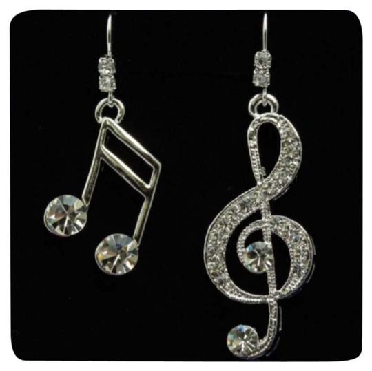 "Other Brand New Silver ""Music Lover"" Austrian Crystal Dangle Earrings"