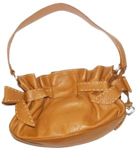 Brighton Mindy Bow Ruffle Leather Shoulder Bag