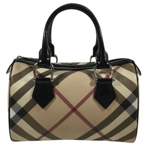 Burberry Nova Check Bowling Satchel in Beige
