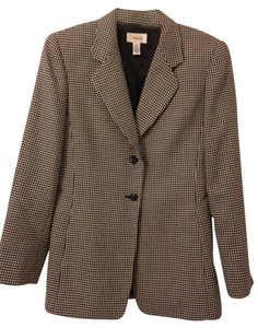 Talbots Plaid Mid Length Black/white Jacket