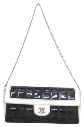 Chanel Chocolate Bar And White Patnet Leather Patent Leather Shoulder Bag