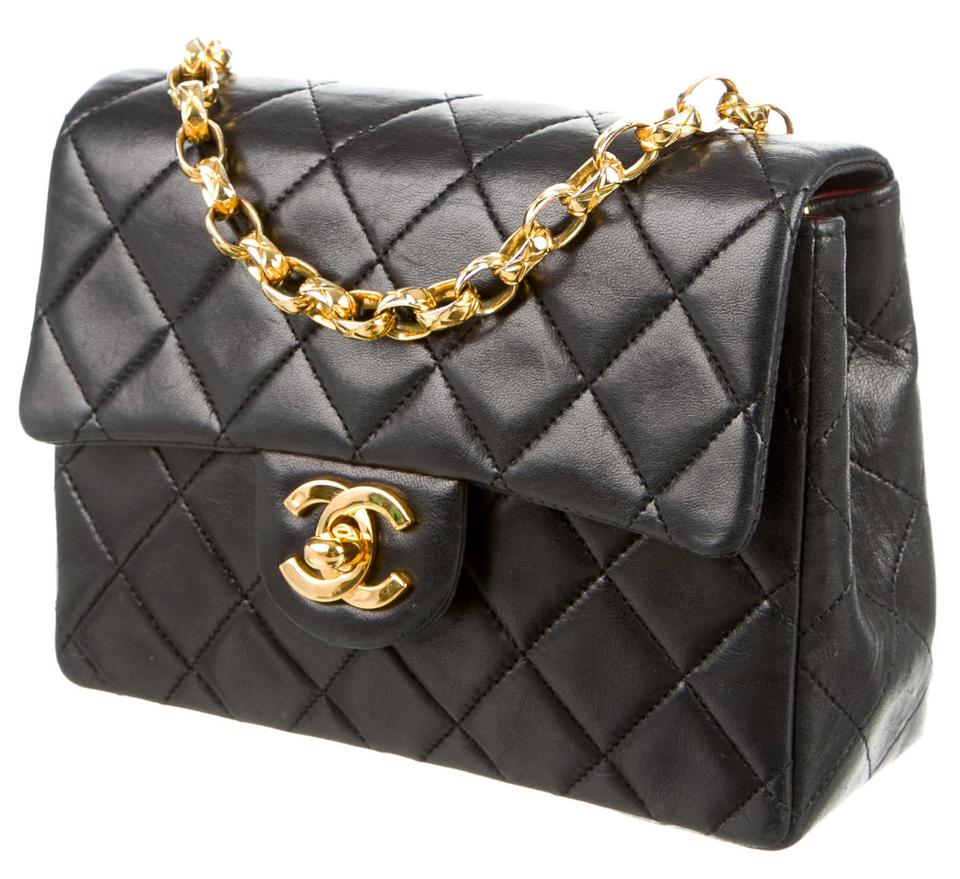 28c6e1aa1ae4de Chanel Classic Flap 2.55 Reissue Mini Square Quilted Woc Bijoux Chain Link  Black Lambskin Leather Cross Body Bag