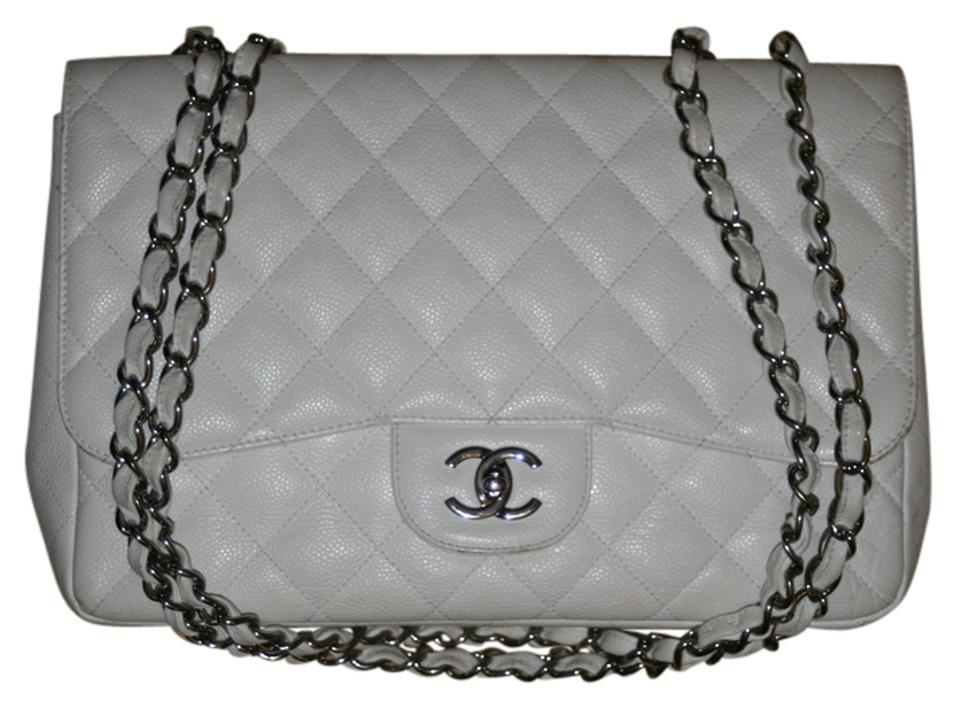 0fb61a4f5a0aed Chanel 2.55 Reissue Classic Quilted Jumbo Maxi Single Flap Silver Cc Logo  Chain Hardware 08p 2008 White Caviar Leather Shoulder Bag